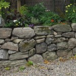 Dry stone raised flower bed