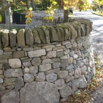 Curved dry stone dyke