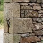 Dressed sand stone wall end